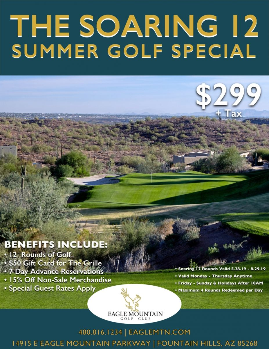 A flyer for the Soaring 12 Summer Golf Special at Eagle Mountain