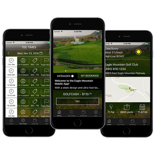 An image depicting three phone screens displaying various features on the new Eagle Mountain Golf Club 2.0 Mobile app